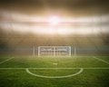 Football pitch with goalpost in stadium digitally generated Royalty Free Stock Photo
