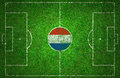 Football pitch with holland flag Royalty Free Stock Photography