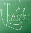Football Play Diagram on Chalkboard Royalty Free Stock Images