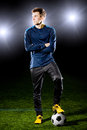 Football player grass field sport portrait Stock Images
