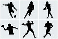 Football player icons and silhouettes Royalty Free Stock Photo