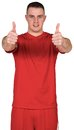 Football player showing thumbs up on white background Royalty Free Stock Image