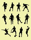 Football Player Silhouettes Royalty Free Stock Photo