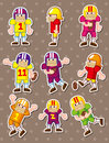 Football player stickers Stock Images