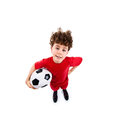 Football player young isolated on white background Stock Photo