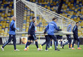 Football players carry goalpost steaua bucharest and assistant coach pictured moving the during the official training held on Stock Photography