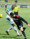 Football players fight for the ball in concordia chiajna gaz metan medias pictured action during romanian league game between and Royalty Free Stock Photo