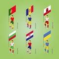 Football players with flag: Poland, Andorra, Gibraltar, Croatia, Royalty Free Stock Photo