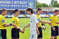 Football players are greeted with referee during the match between metallurg donetsk city ukraine vs chernomorets odessa city Royalty Free Stock Photos