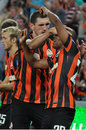 Football players hug each other after scoring a goal during the match between shakhtar donetsk city ukraine vs chornomorets odessa Royalty Free Stock Photos