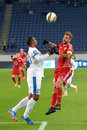 Football players are ready to get the ball photo was taken during match between fc dnipro dnipropetrovsk city and fc volyn lutsk Stock Images