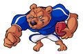Football playing bear Royalty Free Stock Images