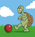 Football playing turtle Royalty Free Stock Photos