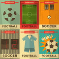 Football posters collection soccer placards set in flat design illustration Stock Photo