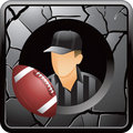 Football and referee on silver cracked web icon Royalty Free Stock Photos