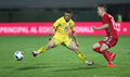 Football romania vs lithuania s gabriel torje l and s deimantas petravicius r in action during a friendly match played at Stock Images