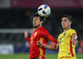 Football romania vs spain s david silva l and s steliano filip r in action during a friendly game played at cluj arena Royalty Free Stock Photography
