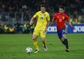Football romania vs spain s mario perez r and s bogdan stancu l in action during a friendly game played at cluj arena stadium Royalty Free Stock Images