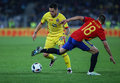 Football romania vs spain s nicolae stanciu l in action during a friendly game played at cluj arena stadium in cluj napoca Royalty Free Stock Image
