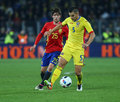 Football romania vs spain s sergi roberto l and s ovidiu hoban r in action during a friendly game played at cluj arena Stock Image