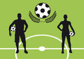 Football silhouettes silhouette of a man and a woman holding a soccer ball green background soccer stadium vector illustration of Stock Photography