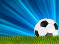 Football or soccer ball on grass. EPS 8 Stock Images