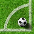 Football ( soccer  ball ) in grass field. Royalty Free Stock Photography