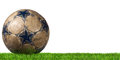 Football - Soccer Ball with Green Grass Royalty Free Stock Photo