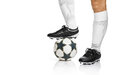 Football or soccer ball at the kickoff of a game on white background Stock Photo