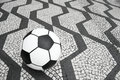Football soccer ball sao paulo brazil sidewalk on iconic black and white tile in downtown Stock Image