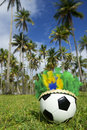 Football soccer ball wearing carnival headdress bright brazilian near grove of palm trees Royalty Free Stock Image