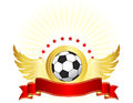 Football soccer club logo design illustration of a black and white with golden wings stars and red ribbon banner perfect for logos Stock Photo