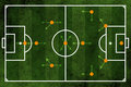 Football or soccer field and team formation Stock Photography