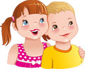 Girl hug a boy - cute kids looking up and smiling happily. Vector illustration Royalty Free Stock Photo