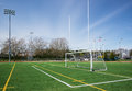 Football and soccer gates on artificial turf field Stock Image