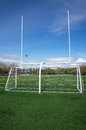 Football and soccer gates on artificial turf field Stock Photos
