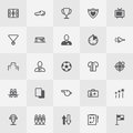 Football / Soccer Icon Set. Line Art Vector