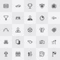 Football / Soccer Icon Set. Line Art Vector Royalty Free Stock Photo