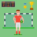 Football soccer icons player trophy competition game score win play flat design sport vector illustration Royalty Free Stock Photo