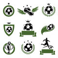 Football and soccer labels and icons set vector Royalty Free Stock Image