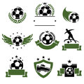 Football and soccer labels and icons set vector cup isolated game Royalty Free Stock Images