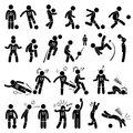 Football soccer player footballer actions poses cliparts a set of stickman pictogram representing skills and apart from that it Royalty Free Stock Images