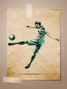 Football, Soccer Player Sketch on Aged Note Pape Stock Photo