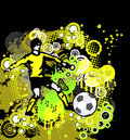 Football soccer poster with player on grunge bac background element for design vector illustration illustration all elements and Stock Photos