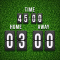 Football soccer scoreboard on grass background. Vector template Royalty Free Stock Photo