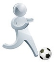 Football soccer silver man running with the ball Royalty Free Stock Photography