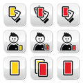 Football or soccer yellow and red card icons set cards black isolated on white Stock Photography