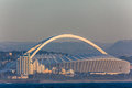 Football stadium moses mabhida ocean durban photo image across the waters onto landmark structure Royalty Free Stock Photo