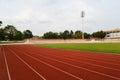 Football stadium running track lines view of Stock Photo