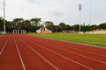 Football stadium running track lines view of Royalty Free Stock Photos